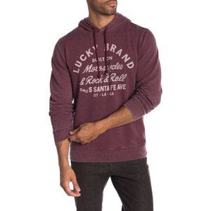 Lucky Brand Mens Maroon Graphic Hoodie Size M